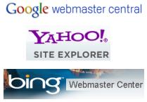 Google Yahoo Bing Webmaster Center Logos